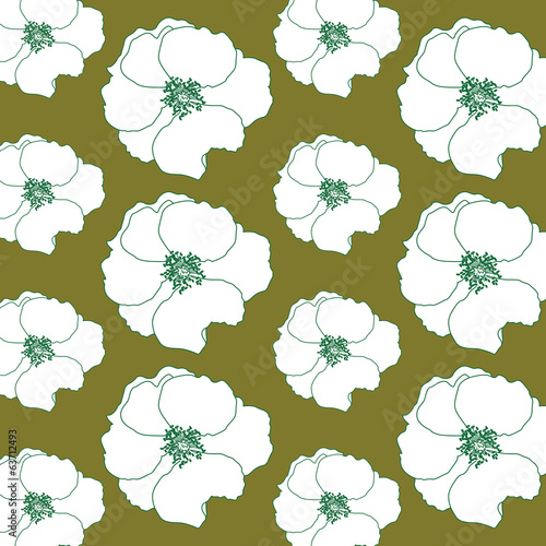 vintage green and white flower background
