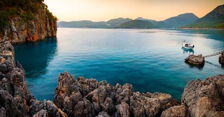 Lone boat in Mediterranean Sea
