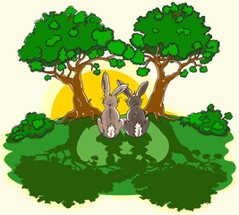 2 Hasen unter Bäumen