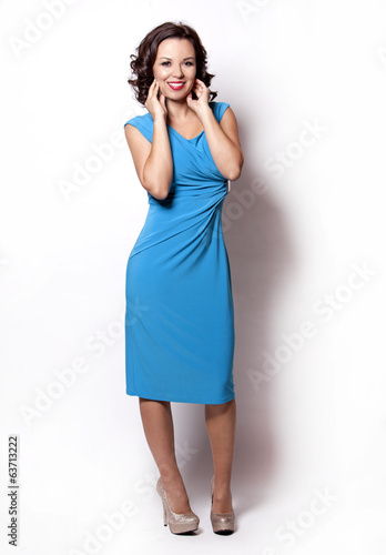 woman in blue dress