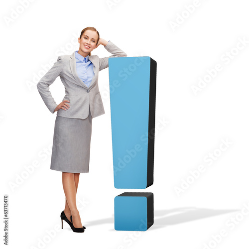 smiling businesswoman with exclamation mark