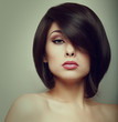 canvas print picture - Makeup beautiful woman face with short hair style