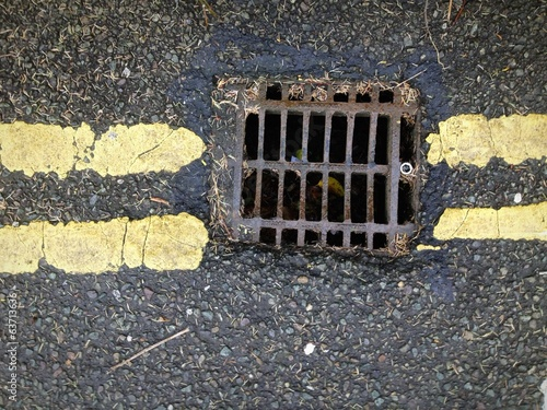 street drain and yellow lines