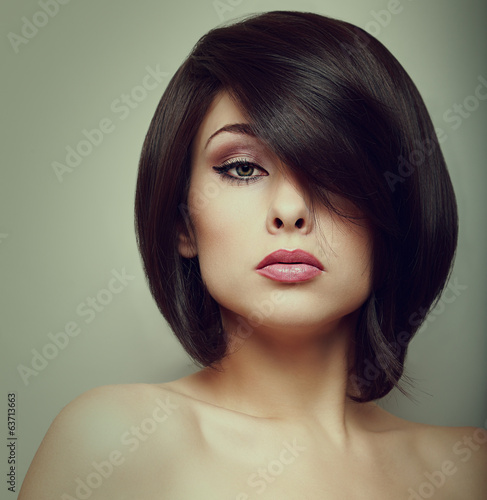 Makeup beautiful woman face with short hair style