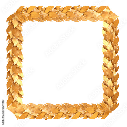 Golden square frame of Laurel branches