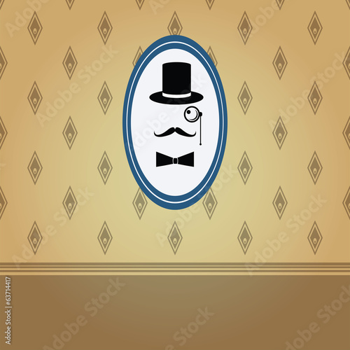 gentleman graphic on the vintage wallpaper vector