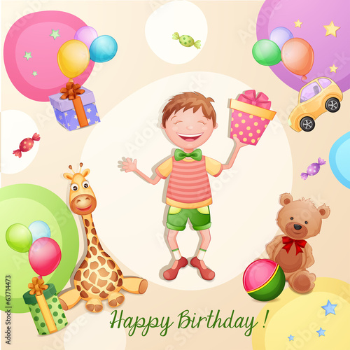 Happy birthday illustration with happy boy holding a gift box.