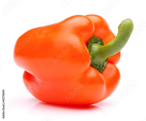 Orange sweet bell pepper isolated on white background cutout