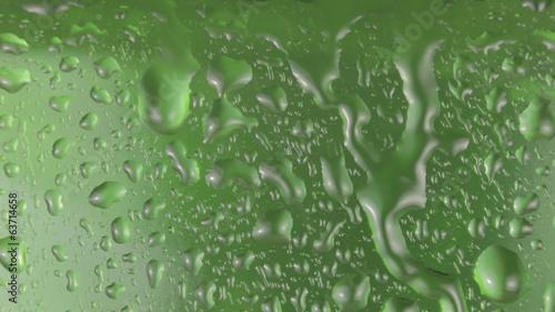 Rain and water droplets on green glass.