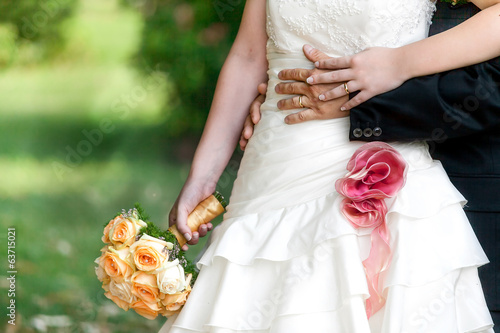 bride and groom hands with wedding rings