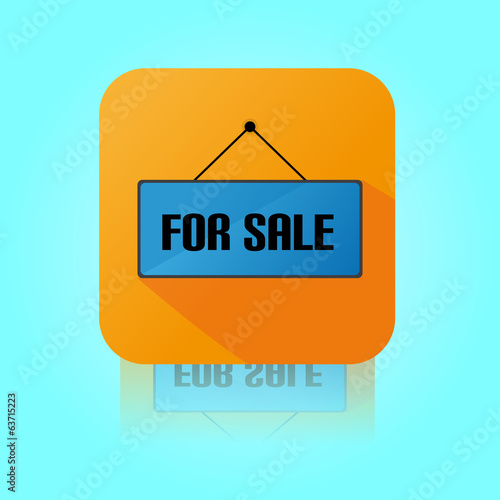 Flat Color For Sale Label Icon