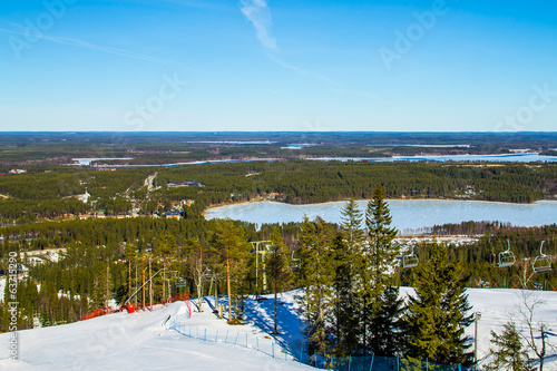 Scenic view over a ski slope