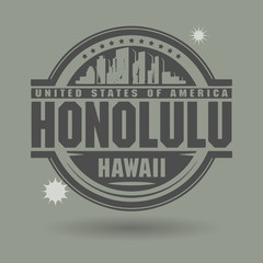 Stamp or label with text Honolulu, Hawaii inside