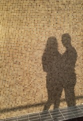 Man and woman silhouettes in love attitude