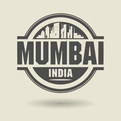 Stamp or label with text Mumbai, India inside, vector