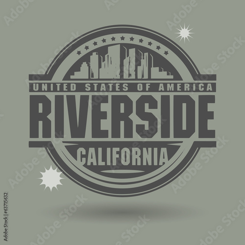Stamp or label with text Riverside, California inside