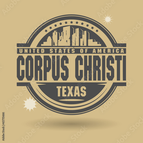 Stamp or label with text Corpus Christi, Texas inside