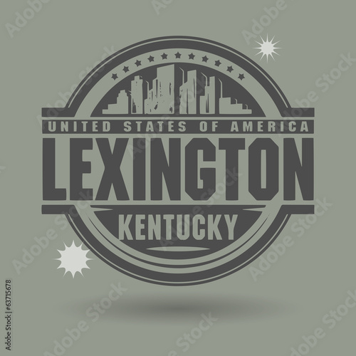 Stamp or label with text Lexington, Kentucky inside