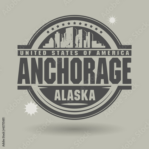 Stamp or label with text Anchorage, Alaska inside