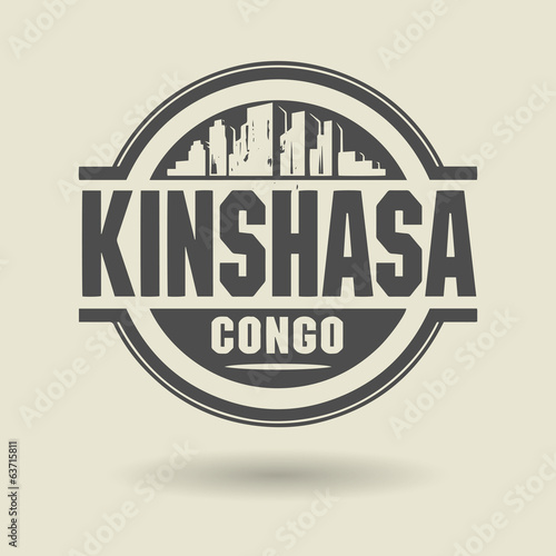 Stamp or label with text Kinshasa, Congo inside, vector