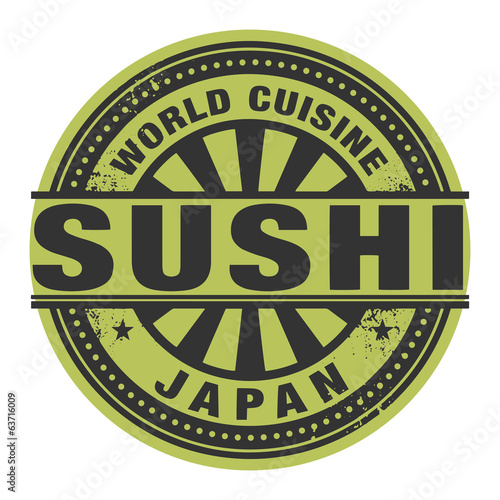 Abstract stamp or label with the text World Cuisine, Sushi writt