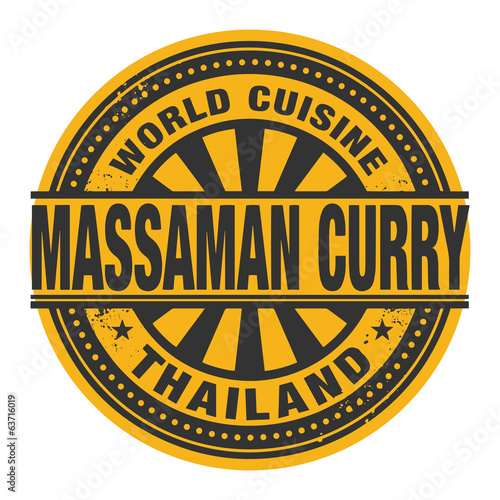 Abstract stamp or label with the text World Cuisine, Massaman Cu