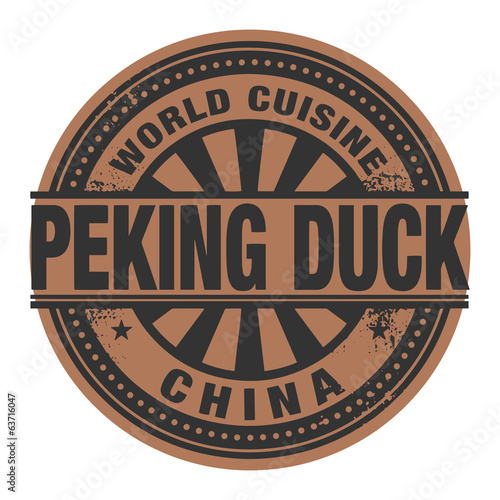 Abstract stamp or label with the text World Cuisine, Peking Duck