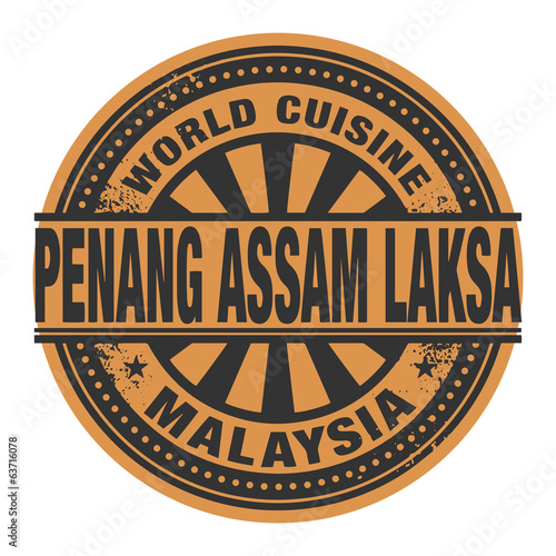 Abstract stamp or label with the text World Cuisine, Penang assa