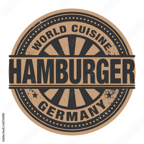 Abstract stamp or label with the text World Cuisine, Hamburger