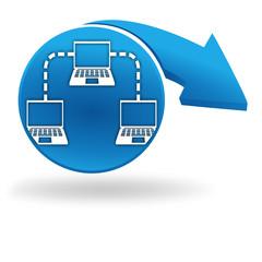 ordinateurs en réseau sur bouton bleu