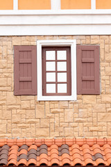 Modern wood windows in exterior decoration.