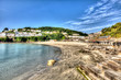 Looe beach Cornwall England with blue sea HDR
