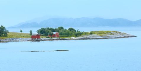Ranfjorden summer cloudy view (Norway)