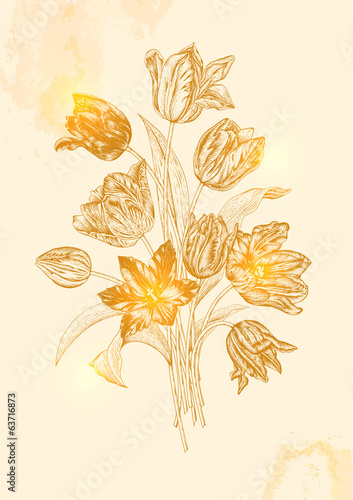 Vintage vector bouquet of nine tulips