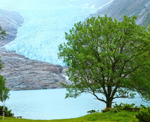 Lake Svartisvatnet and view to Svartisen Glacier (Norway)