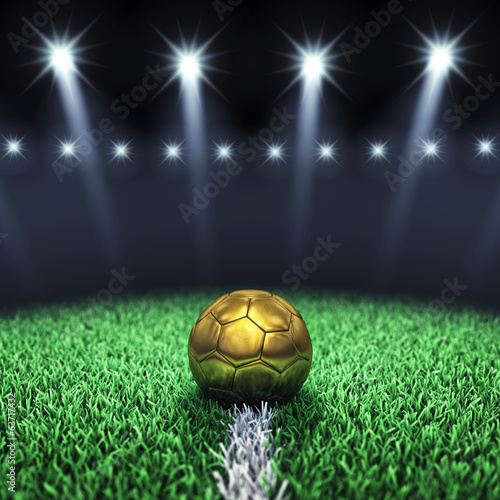 canvas print picture Soccer arena and golden ball , Football stadium