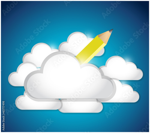 pencil and clouds. illustration design