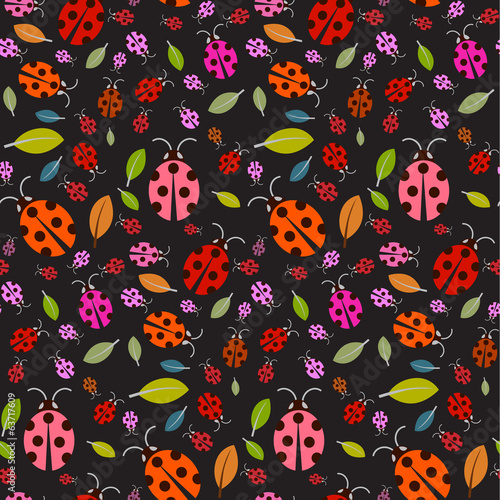 Seamless Pattern with Ladybirds and Leaves on Black Background