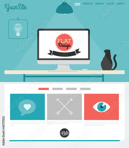 Vector Website Template with vintage inspired design