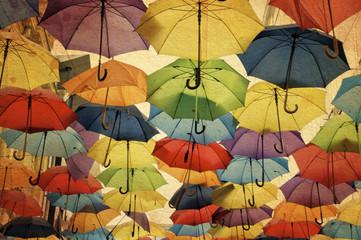 Colorful umbrella street decoration.