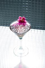 Cocktail with caviar and whisky
