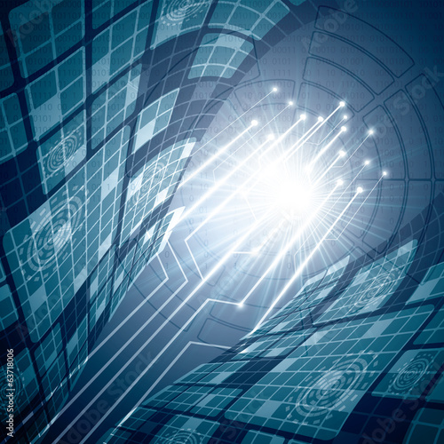 Abstract vector futuristic blue background