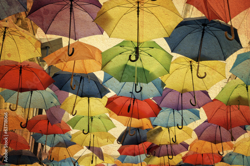Colorful umbrella street decoration.