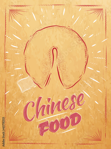 Poster chinese food in retro style lettering fortune cookies