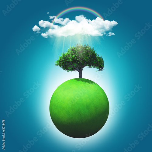 3D render of a grassy globe with a tree, rainbow and raincloud