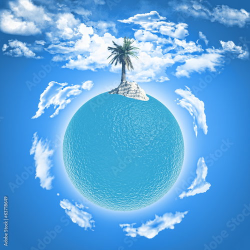 Palm tree on ocean globe
