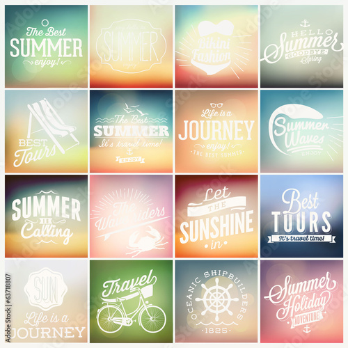 16 summer label on vintage background