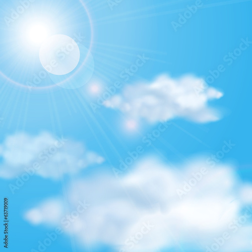Shining sun in the cloudy blue sky