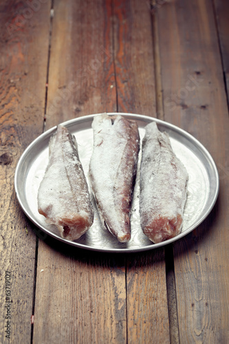 Cooking from frozen: frozen fish on a tray