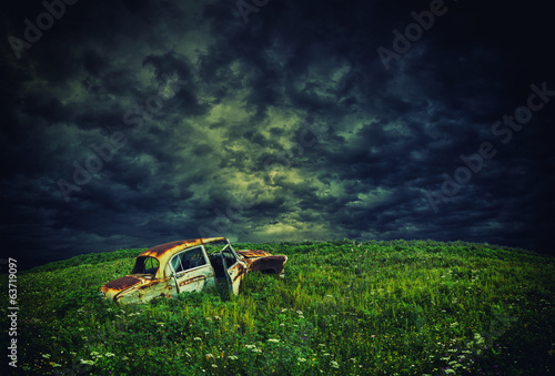rustic car on the hill